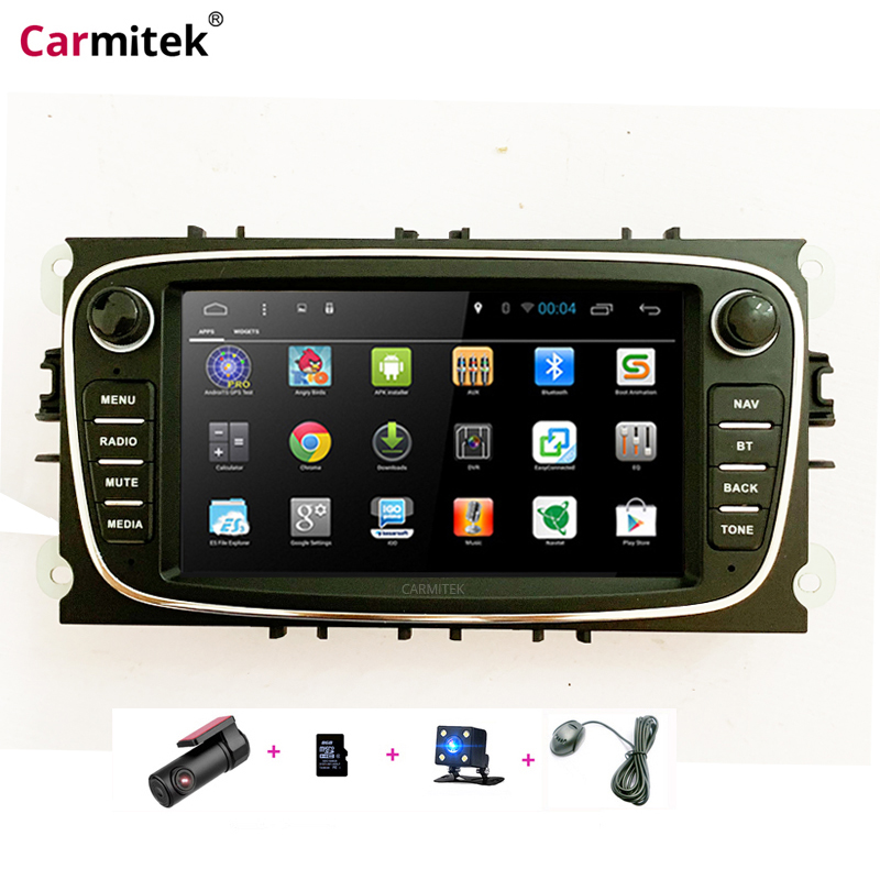 Lecteur DVD de voiture Android 2 Din radio GPS Navi pour Ford Focus Mondeo Kuga C-MAX S-MAX unité de tête stéréo Audio de galaxie