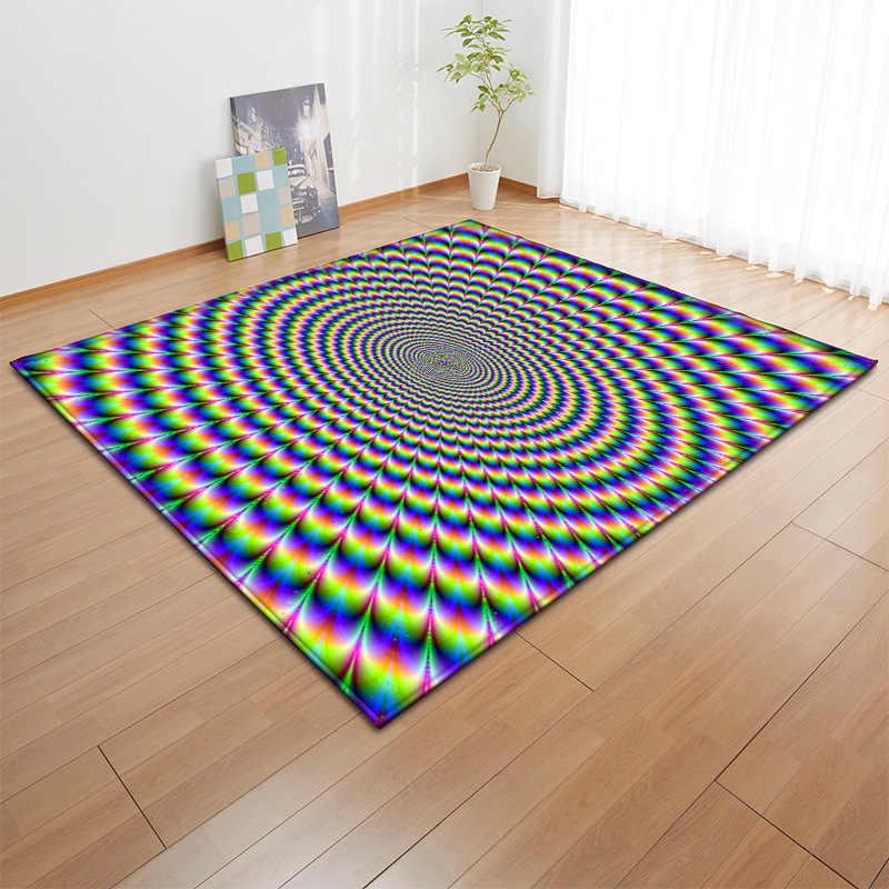 grand tapis de sol antiderapant a vortex tridimensionnel pour salon illusion visuelle noir blanc pour sol personnalite 3d