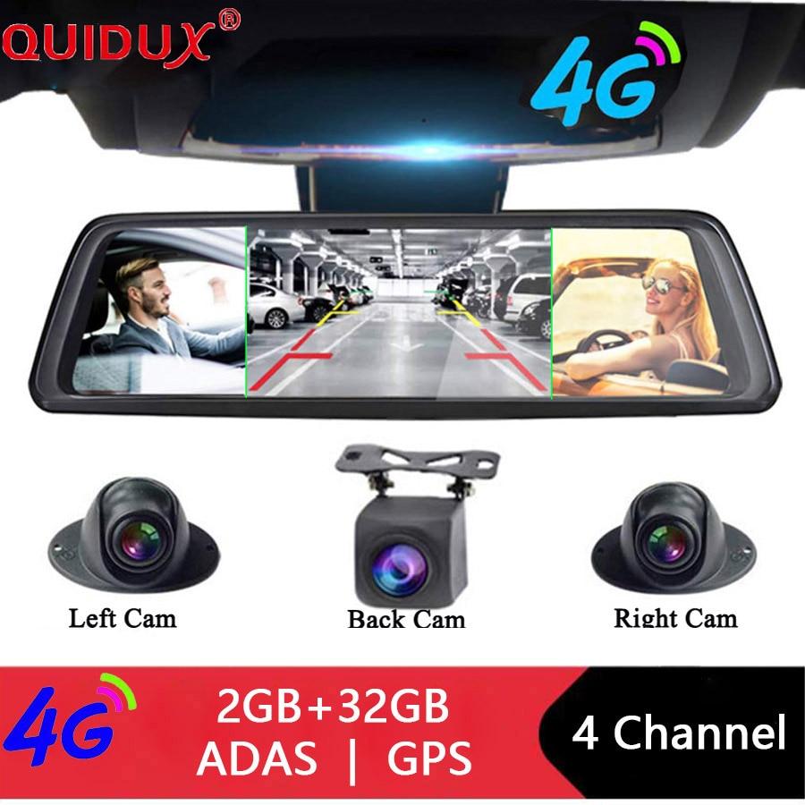 QUIDUX Cameras-Lens Android Dvr Drive Recorder Rearview-Mirror WIFI ADAS 1080P Navi 4CH