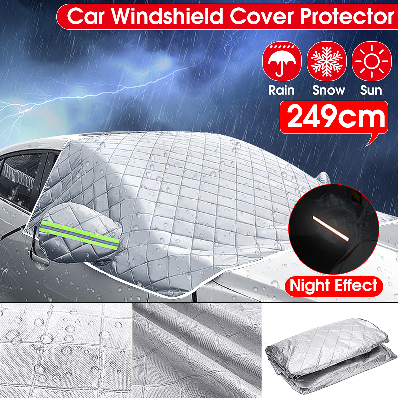 Universal Car Windshield Mirror Reflective Bar Cover Sun Shade Protector Winter Snow Ice Rain Dust Frost Guard Aluminium Film