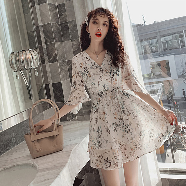 Women Mini Dress 2020 Spring New V-neck Floral Chiffon Dress High Waist Flare Sleeve Female Dress Woman's Dress KarolyiDora KA88 4