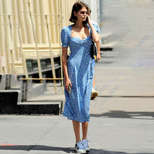 فستان  صيفي كلاسيكي  بتصميم فرنسي باكمام منتفخه1