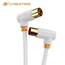 CABLETIME telewizja cyfrowa kabel 90 stopni M/F koncentryczny kabel antenowy satelitarny kabel wideo do telewizji HD linia STB C317