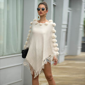 Knitted Pullover Sweaters Round-Neck Autumn Winter Cloak Solid Shawl Hair-Ball Fringed