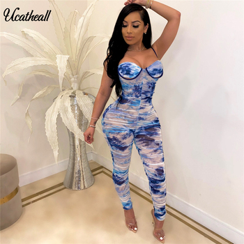 Tie Dye Print Sexy Mesh Bodycon Jumpsuit Women Wrap Chest Sleeveless Skinny Romper Summer Ruched Backless Party Catsuit