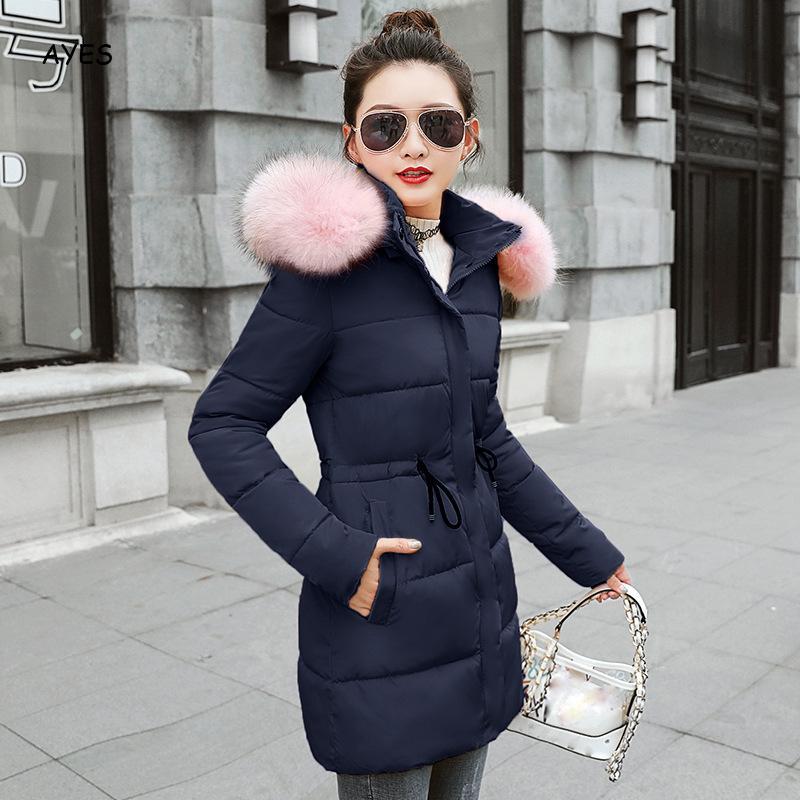 Épais chaud Parkas manteau femmes fourrure garniture à capuche doudoune femmes 2019 hiver mince mode vêtements d'extérieur pour femmes longue Style Parkas veste