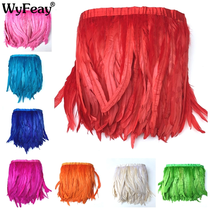 10 Meter 30 35cm Chicken Rooster Tail Feathers Trim Strip for Wedding Dress Skirt Party Clothing