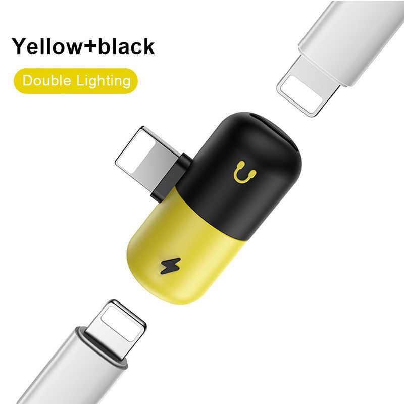 ! ACCEZZ Voor Apple iphone adapter Verlichting Adapter Voor iphone X 8 7 Plus XS MAX XR Opladen Converter USB AUX splitter Adaptador