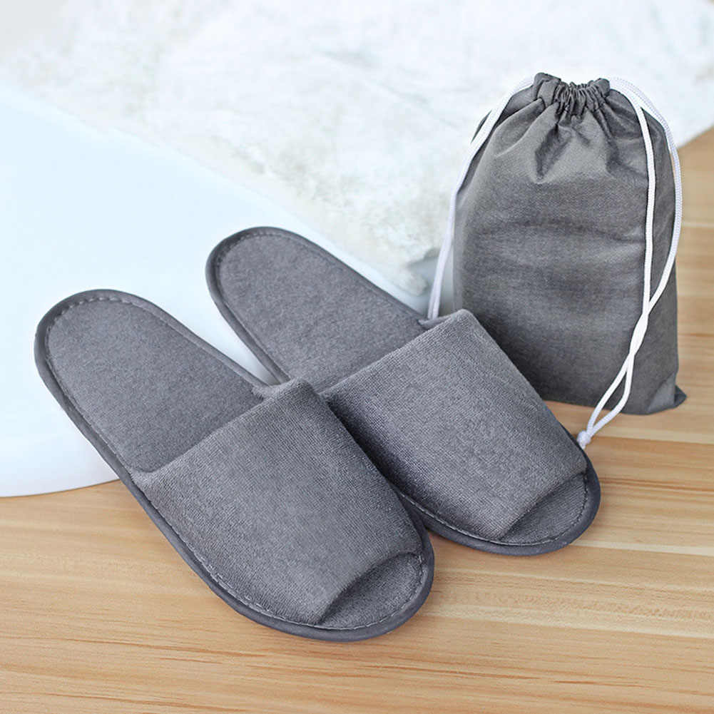 Travel Business Trip Hotel Club Portable Disposable Slipper Home Guest Folding Slippers With Storage Bag Hotel Spa Supply