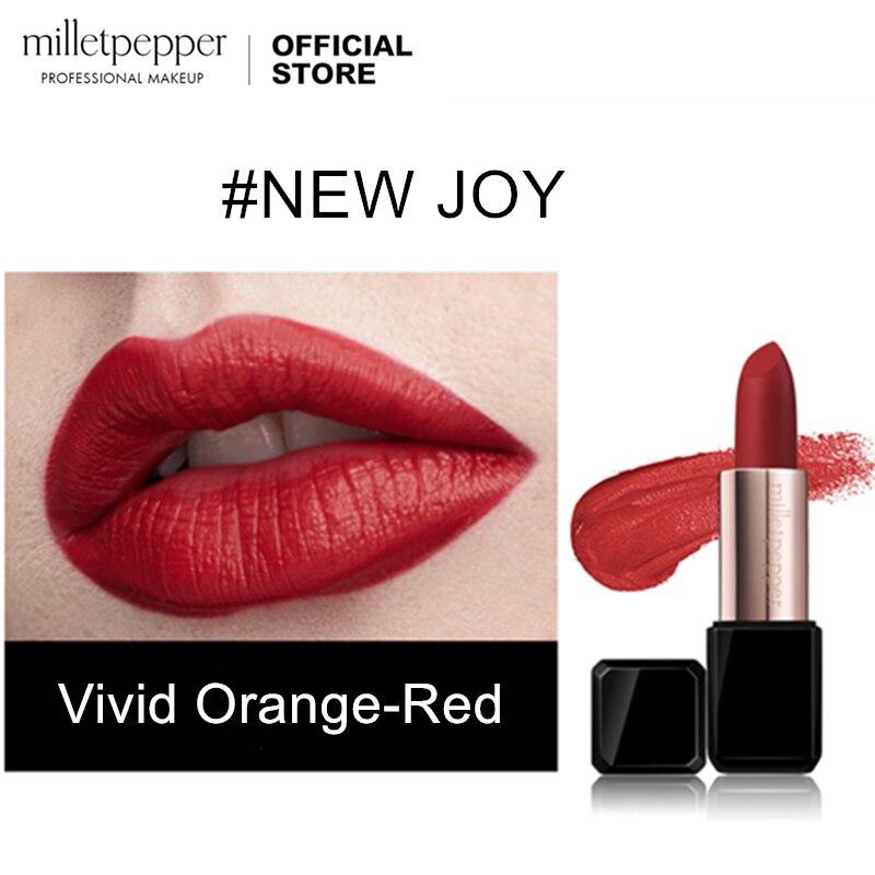 milletpepper nova alegria batom laranja vermelho com um acabamento veludo fosco