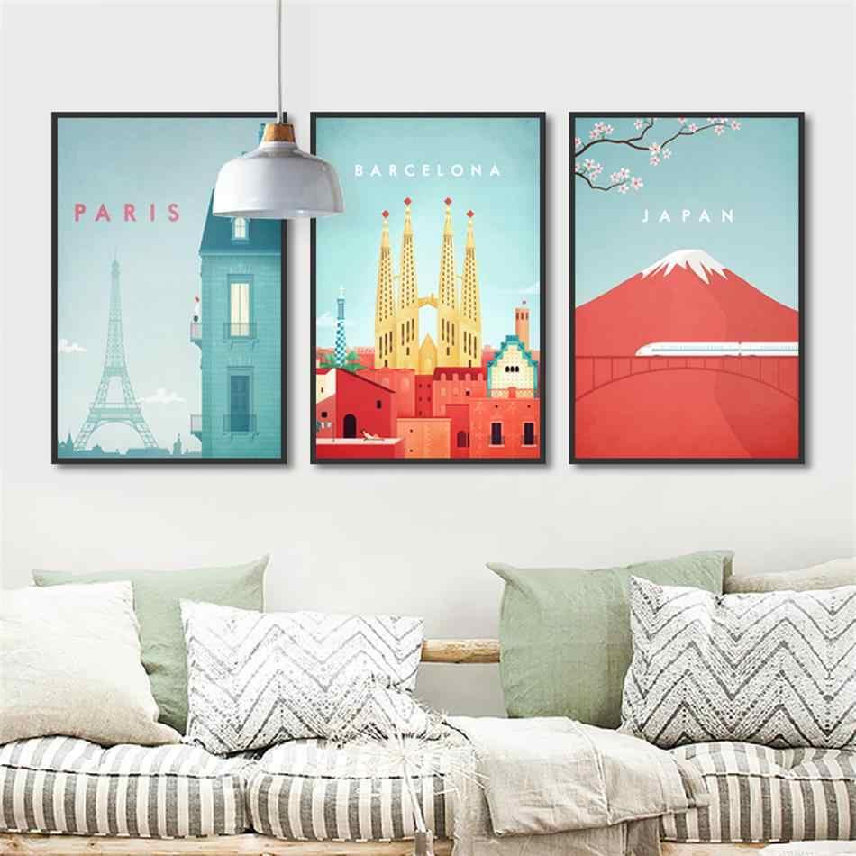 Decoración de dormitorio pared arte foto viaje paisaje póster e impresiones acuarela abstracta Japón París vista de la ciudad lienzo pintura