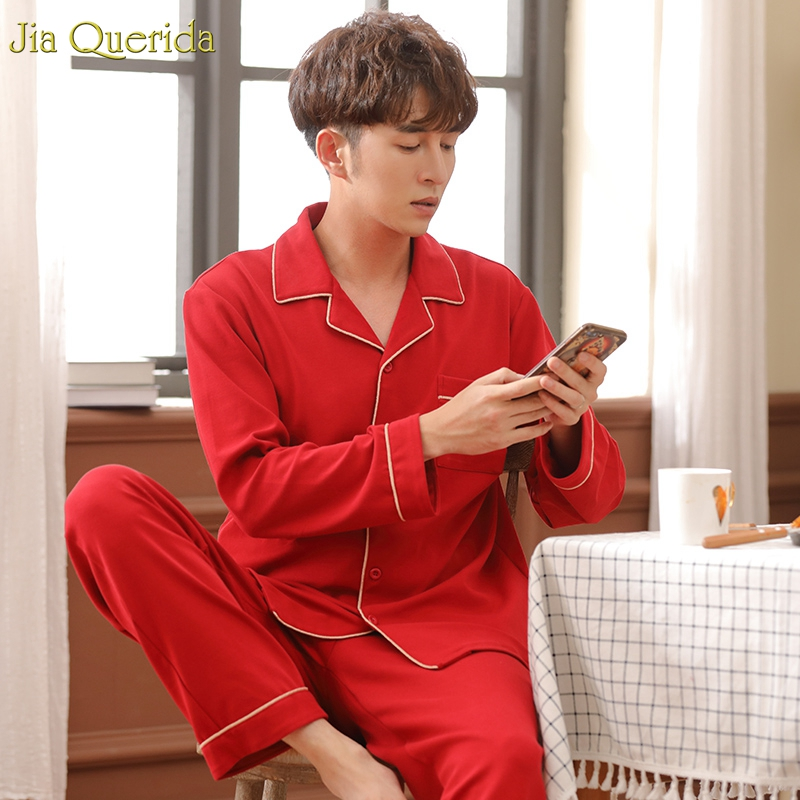 Pyjamas Men 100% Cotton Christmas Red Home Clothing Letter Embroidery Pocket Front Couples Sleepwear Chinese Red Wedding Pajamas
