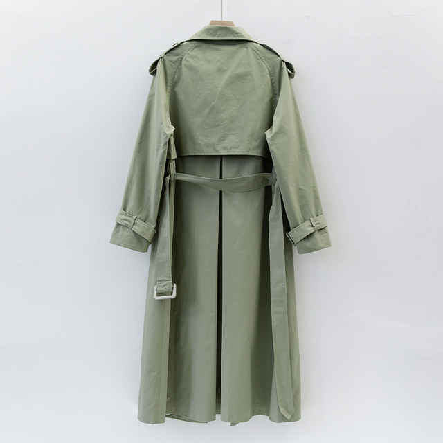 UK Brand new Fashion 2021 Fall /Autumn Casual Double breasted Simple Classic Long Trench coat with belt Chic Female windbreaker 6