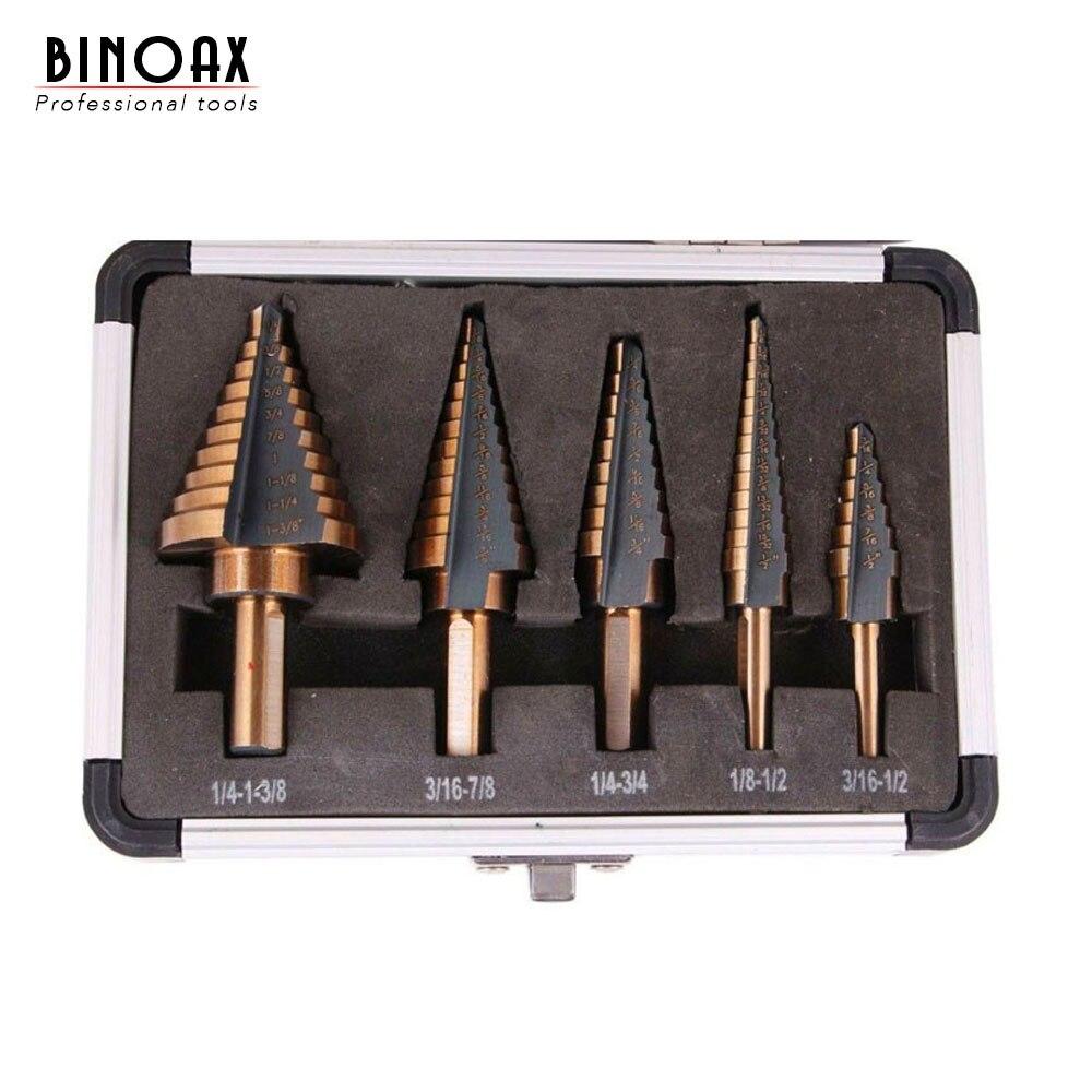 BINOAX-ensemble de forets étagés en COBALT HSS à trous multiples, 50 tailles, avec boîtier en aluminium, 5 pièces/ensemble