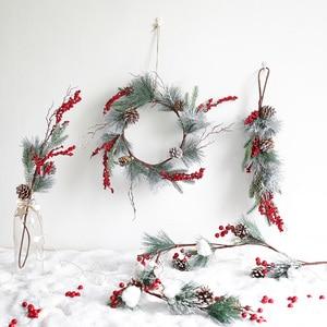 Image 2 - عطلة زينة عيد الميلاد الأحمر الفاكهة جارلاند الروطان قصاصات الديكور مول نافذة المشهد تخطيط زينة عيد الميلاد
