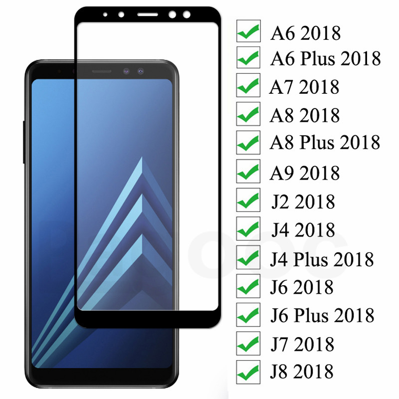 9D Protective Glass On the For Samsung Galaxy A6 A8 J4 J6 Plus 2018 J2 J8 A7 A9 2018 Tempered Glass Screen Protector Film Case(China)