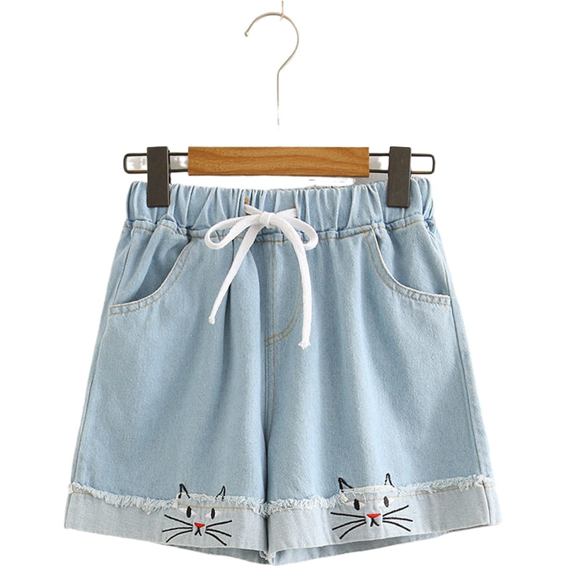 Cartoon Cat Embroidery Denim Shorts Hight Waist Cotton Casual Femme Jeans Short Elastic Wais Shorts 2020 Summer Women's Clothing