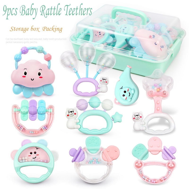 9pcs/set BabyToys Baby Rattle 0 1 Year Old Toddlers Intelligence Rattles with Teether Tooth Glue Educational Sensory Toys
