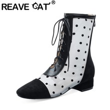 REAVE CAT Spring Autumn Ankle Boots Round Toe Low Square Heels Lace up Cross-tied Back Zipper Large size 30-43 Elegant A2890(China)