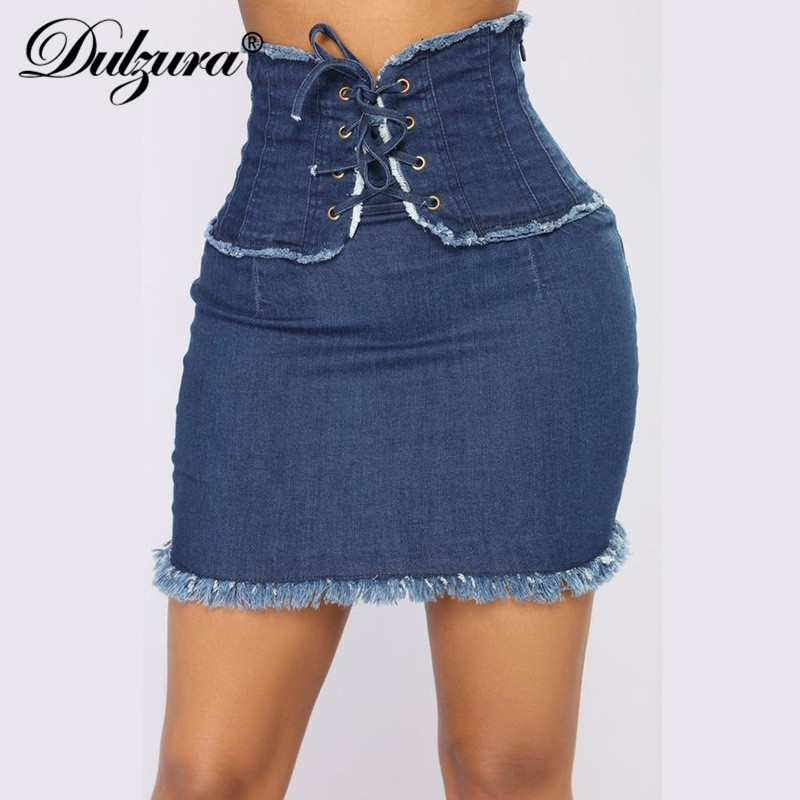 Dulzura Blue Jeans Women Mini Pencil Denim Skirt High Waist Bandage Sexy Streetwear Party 2020 Spring Summer Clothes Button