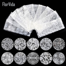 Florvida 10pcs/set Beautiful Lace Nail Foil Non-sticky Decoration White Black Series for Nails