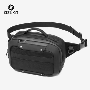 OZUKO Multifunction Waterproof Waist Bag Men USB Crossbody Belt Bag Small Phone Pouch Bags Male  Short Travel Chest Fanny Pack