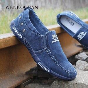 Image 1 - אופנה גברים נעלי בד זכר החורף מזדמנים ג ינס נעלי Mens סניקרס להחליק על נעלי נהיגה מוקסין Chaussure Homme שחור