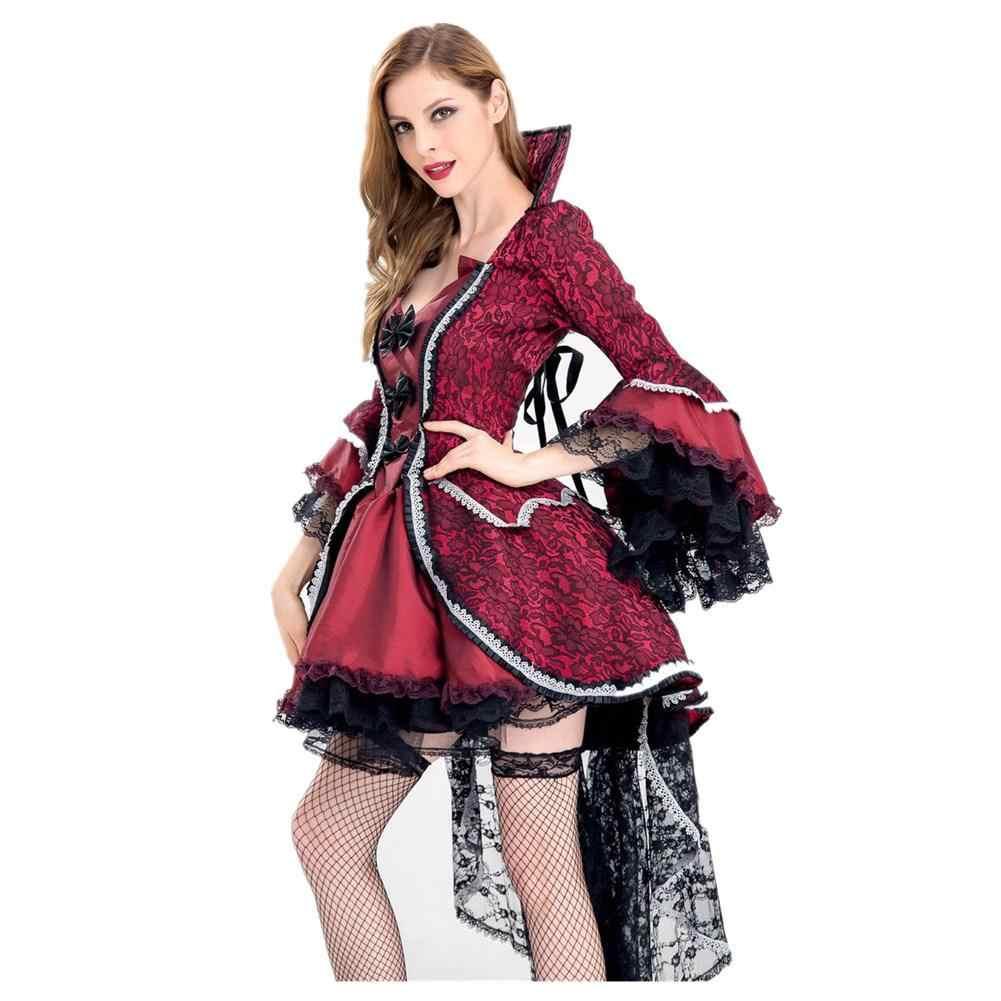Красные и черные роскошные костюмы на Хэллоуин для женщин Королева вампиров косплей костюм Взрослый ведьма готическое платье маскарадное платье