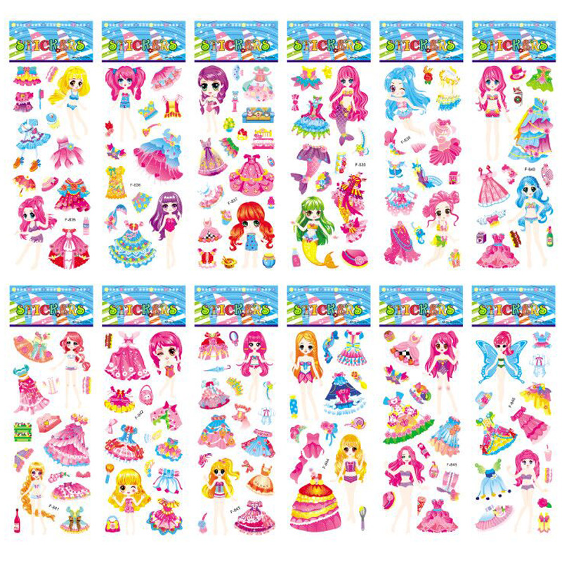 12 Sheets/set 3D Bubble Dress Up Girls Stickers Cartoon Change Clothes DIY Kawaii Stickers Educational Toys For Kids Girl Gift