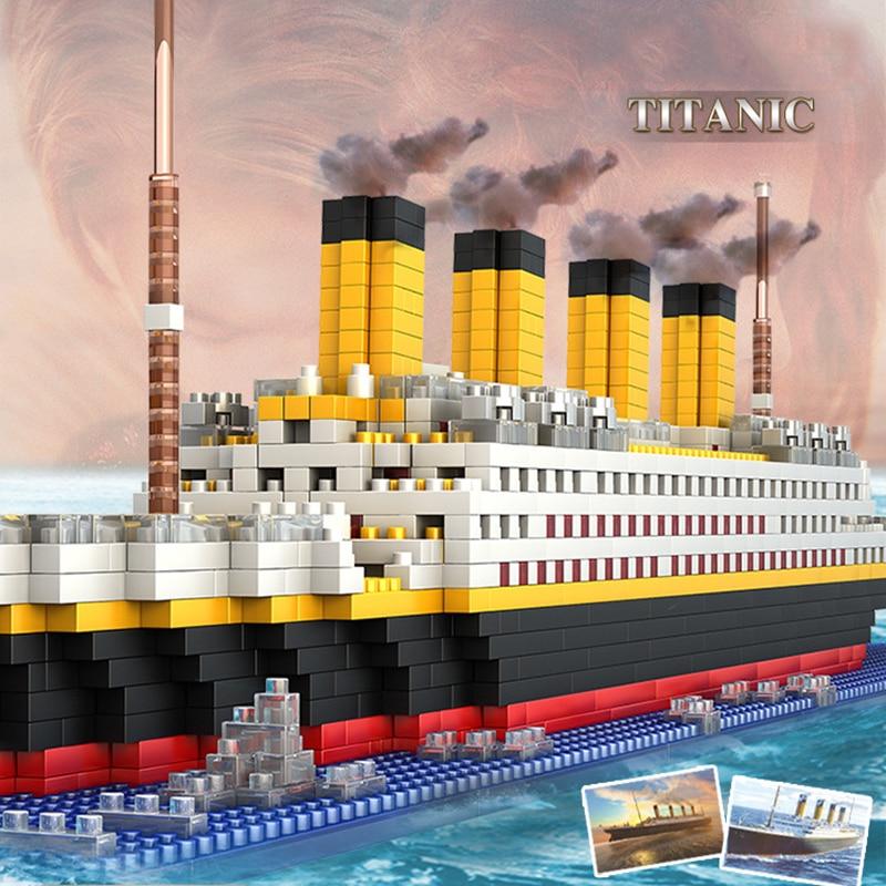 1860pcs Blocks Set Titanic Ship Mini Cruise Model Boat DIY Assemble Building Block Diamond Classical Brick Kids Toys Block Toys