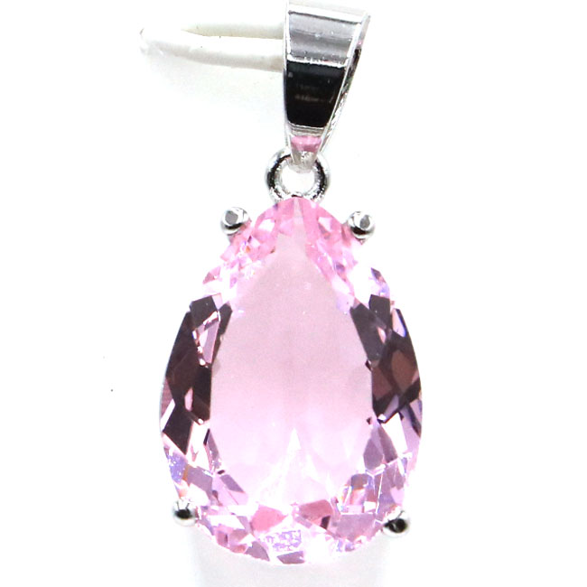 SheCrown Drop 18x13mm Pink Kunzite Gift For Girls 925 Silver Pendant 27x13mm
