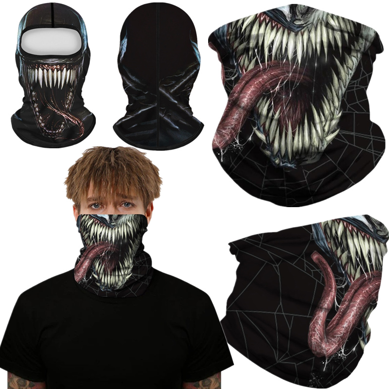 Superhero Venom Spider Peter Parker Motorcycle Cycling Neck Scarf Half Face Mask Bandana Headband Cosplay Adult Masks