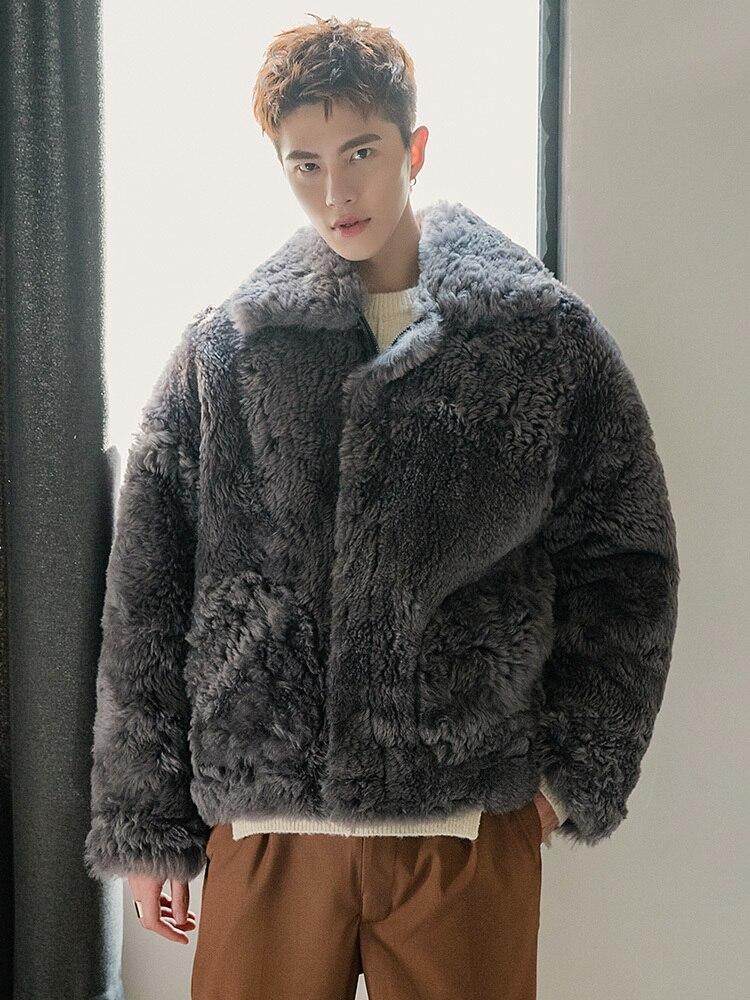 Real Fur Coat Men Original Winter Sheep Shearling Jacekt Man Short Men's Fur Coat Warm Lamb Fur Jackets Coats 2020 19341 KJ3321