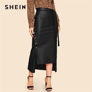 Image 5 - Shein marrom elegante divisão bainha frente duplo botão com cinto de couro olhar saia longa senhora do escritório sólido workwear maxi saias