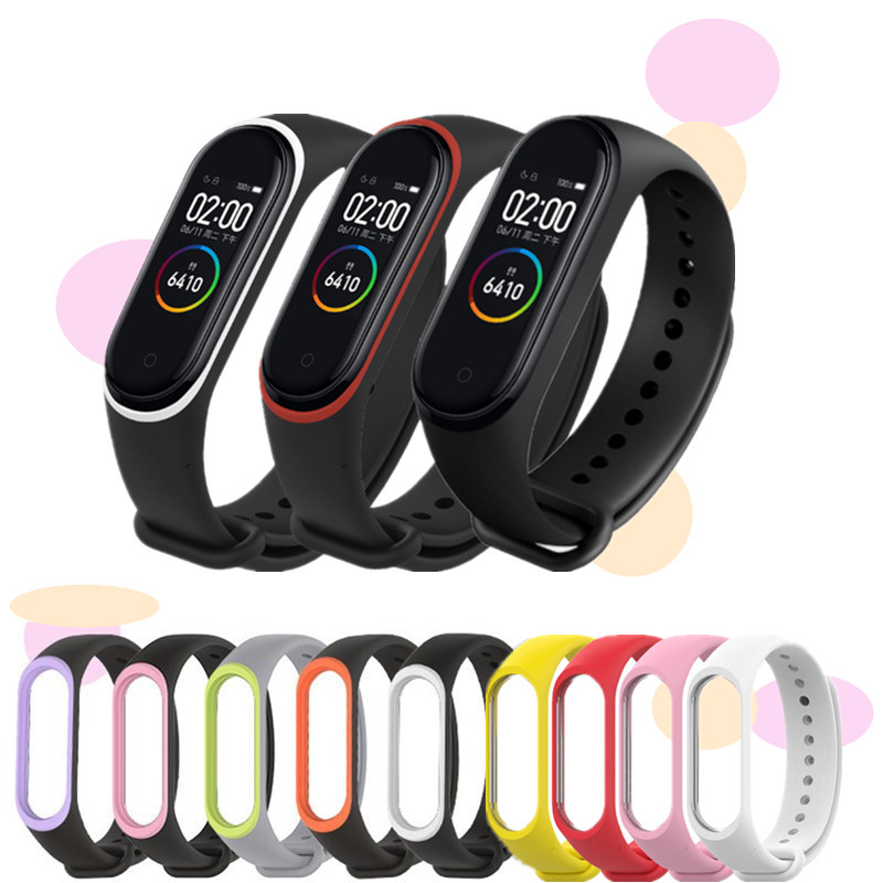 Sport Silicone Bracelet For Xiaomi Mi Band 4 3 Bracelet Pure Dual Color Replacement Strap Mi Band 4 Miband 4 3 Wrist Straps Band