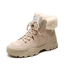 Fujin 여성 부츠 겨울 따뜻한 발목 부츠 레이스 업 부츠 모피 견면 벨벳 신발 여성을위한 편안한 겨울 스노우 부츠