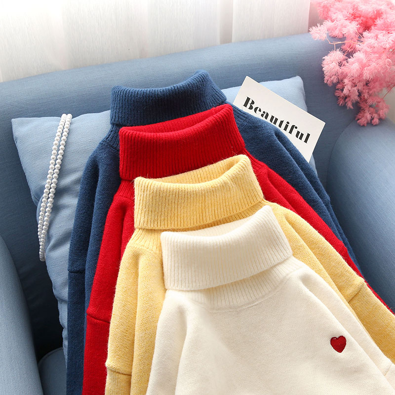 red heart turtleneck women sweater solid knitted slim buttoming thicken warm pulls lady elegant outwear tops
