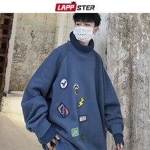 LAPPSTER mężczyźni ponadgabarytowych bluzy z golfem 2020 mężczyzna japońska moda uliczna bluzy jesień koreański Harajuku Hip Hop śmieszne ubrania