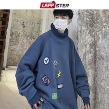 Lappster男性特大タートルネックパーカー 2020 メンズ日本ストリートスウェット秋韓国原宿ヒップホップおかしい服