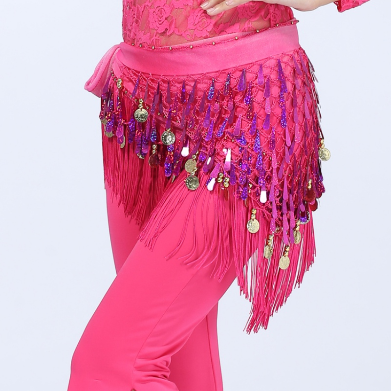 Indian Style Belly Dance Hip Skirt Scarf Wrap Waist Belt Three Layers Gold Coins Sequins Hip Dress Scarf