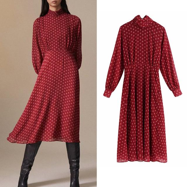 Casual vesitidos red za 2019 a-line high waist women dress print turtleneck midi dress autumn ropa mujer office lady 1