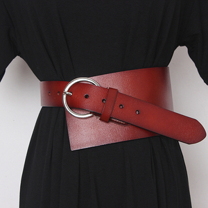 Image 3 - [EAM]  Pu Leather Asymmetrical Split Wide Long Belt Personality Women New Fashion Tide All match Spring Autumn 2020 19A a489