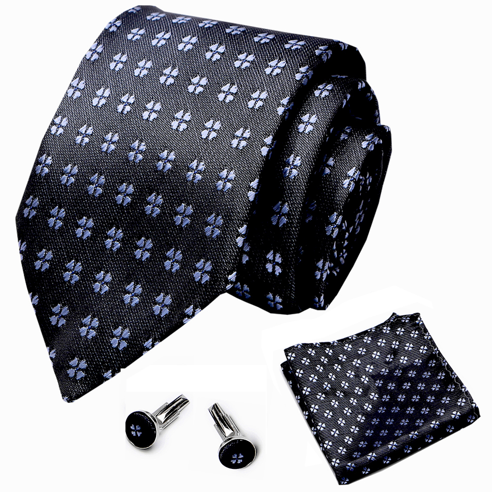 Classic Floral Tie Men's 7.5cm 100% Silk Black White Necktie Set  Wedding  Tie Hanky Cufflinks Set