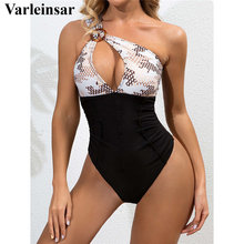 One-Piece Swimsuit One-Shoulder Monokini Female Cut-Out Women V2733 Splicing Printed