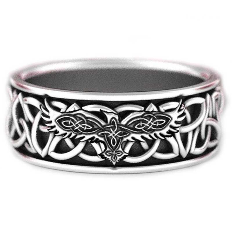 Noorse Mythologie Giant Wolf Fenrir Verdedigen Tempel Raven Amulet Sieraden Vriendje Halloween Gift Mens Viking Rvs Ring