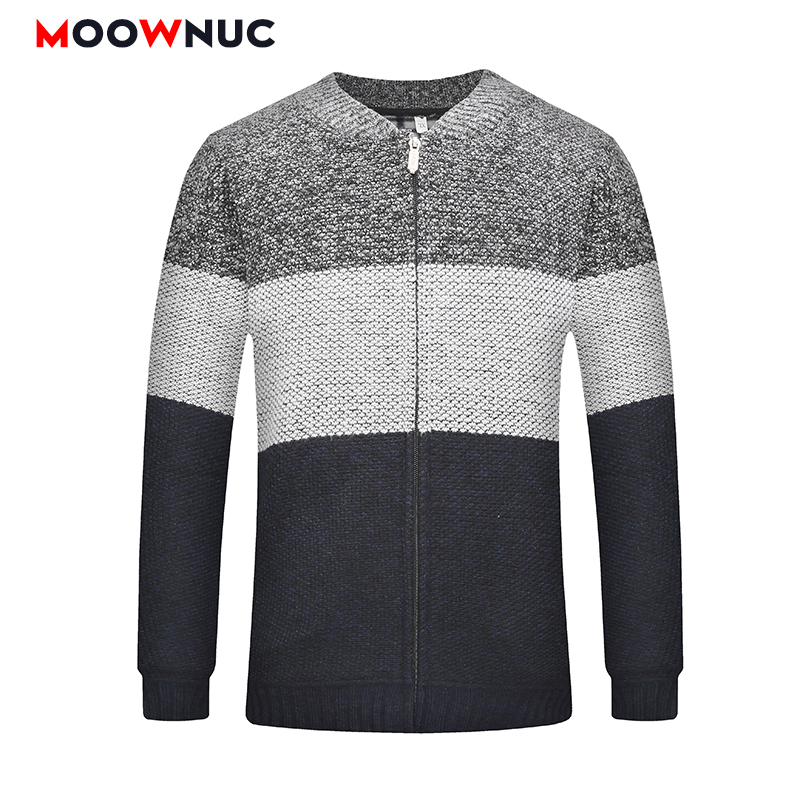 Autumn Winter Sweaters Coats Thick Cardigan Men Fashion Male Striped Warm Brand MOOWNUC Homme Sweaters Casual Slim Windproof New