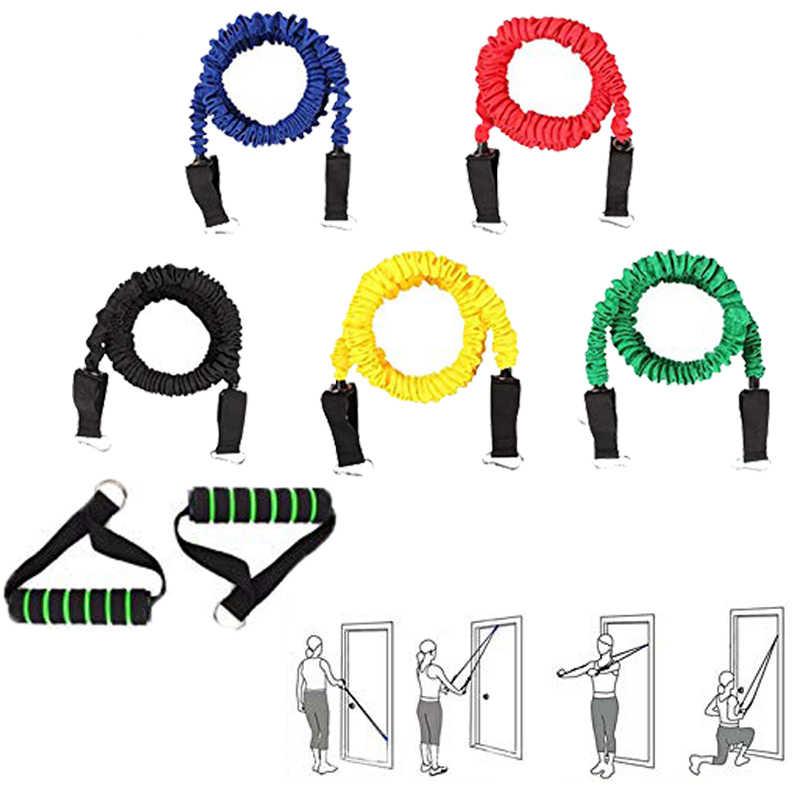 Fitness ciągnąć liny zespoły oporu do treningu siłowego elastyczny 5 kolory odporność na gumowe Crossfit trening sportowy trening pasek