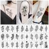 30pcs/set Women Waterproof Temporary Tattoo Sticker Black Rose Fake Tatoo Body Hands Arm Leg Flowers Tattos Tatouage Temporaire