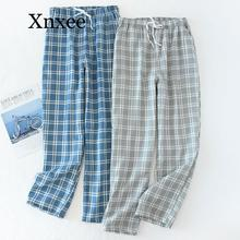 Men's Cotton Gauze Trousers Plaid Knitted Sleep Pants Mens Pajamas Bottoms Sleepwear Pajama Short for Men Pijama Hombre