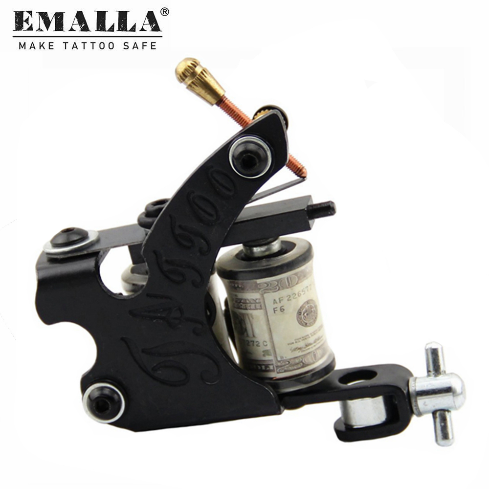 1PCS EMALLA Black <font><b>Coil</b></font> <font><b>Tattoo</b></font> <font><b>Machines</b></font> 10 Wrap <font><b>Coils</b></font> Steel <font><b>Tattoo</b></font> Gun <font><b>Liner</b></font> & Shader With <font><b>Tattoo</b></font> Needles Power Supplies image